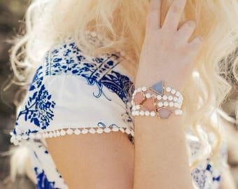 Druzy bracelet -gemstone bracelet - bangle bracelet - stacking bracelets - boho bracelets - friendship bracelets - beaded bracelet
