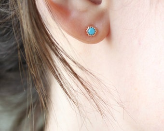 Turquoise earrings - turquoise earrings stud -turquoise stud earrings - turquoise jewelry- cartilage stud - tiny stud earrings - tiny studs