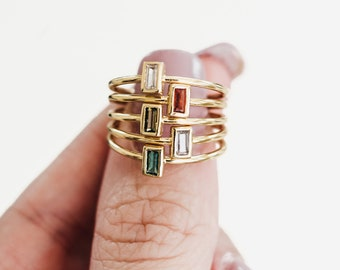 Stackable birthstone rings - birthstone jewelry - birthstone ring for mom - mothers ring - baguette birthstone ring - personalized ring