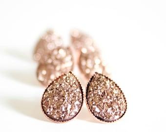 Druzy Earrings - rose gold druzy earrings -bridesmaid earrings -bridesmaid gift -rose gold bridesmaid earrings -bridal earrings