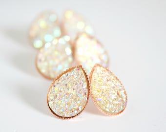 f3792eb75 Teardrop earrings bridal - bridesmaid earrings - champagne teardrop studs -  blush champagne studs - druzy stud earrings -rose gold studs A32