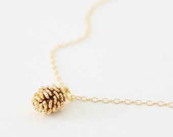Gold Pinecone necklace - dainty necklace  - woodland necklace - forest necklace - nature necklace - best friend gift - camping gift
