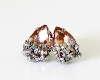 Pyrite earrings - champagne teardrop earrings - crystal earrings - raw crystal earrings - boho earrings - boho jewelry - teardrop earrings