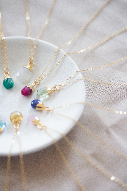 14k Gold Garnet January Birthstone Cursive Letter R Dog-tag Necklace