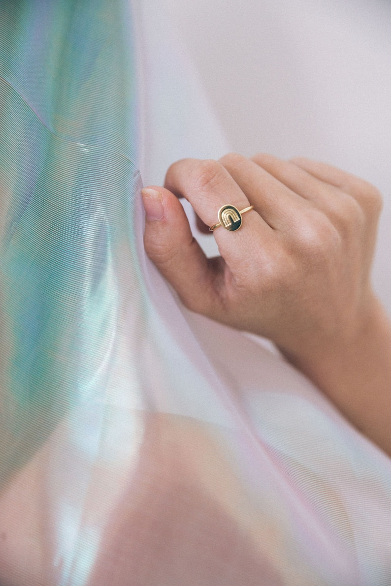 gold oval ring silver rainbow ring simple ring rainbow gift rainbow baby pride ring gold rainbow ring Rainbow ring
