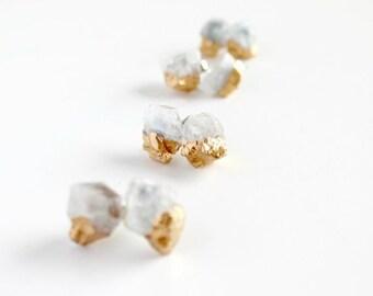 Aquamarine earrings - bridesmaid earrings - aquamarine stud earrings - raw stone earrings -march birthstone- stone earrings- bridesmaid -A37