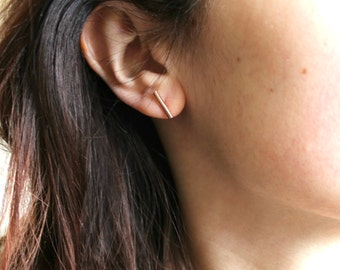 Rose gold bar studs - gold bar studs - gold bar earrings - simple studs - geometric studs - line earrings - bar earrings - gold studs