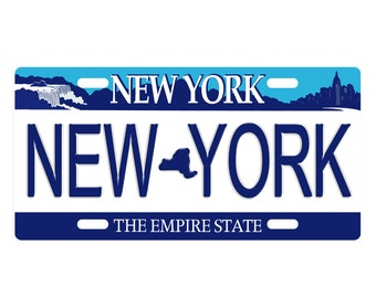 Key Ring Any Name Made to Order Personalized Engraved New York Empire State License Plate Keychain Tag