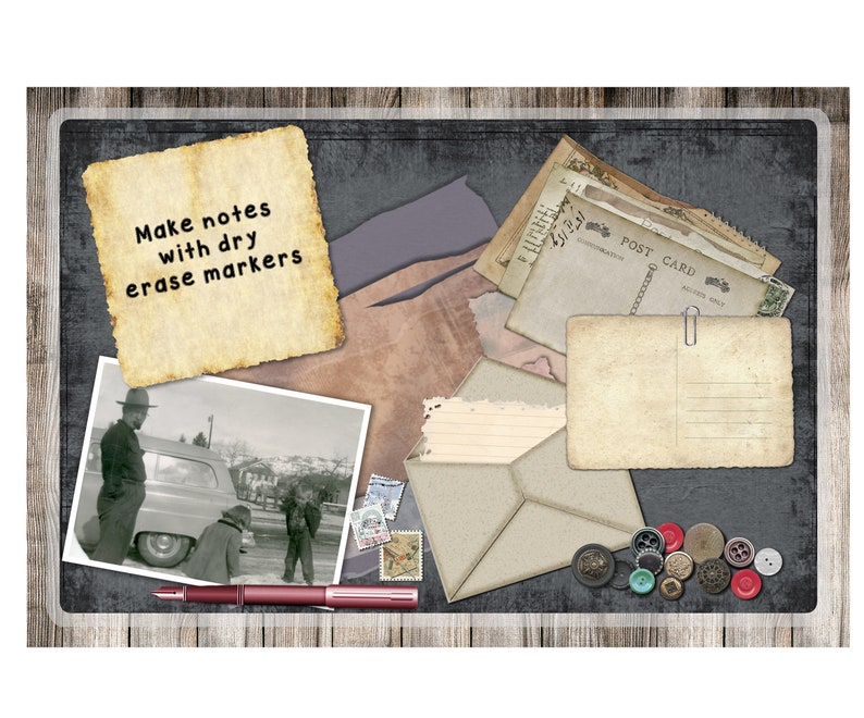 Add Your Picture Scrapbooking Custom Personalized Laminated CounterTable Mat Set of 2 or 4-3 Sizes To Choose From
