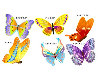 Wall Art - Set of Six Butterflies - Free Standard Shipping