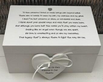 Shabby Rustique Chic En mémoire de maman personnalisé grande boîte tout nom deuil