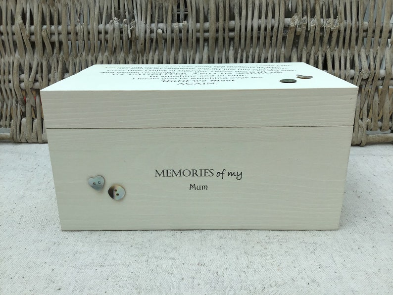 Shabby chic personalised LARGE Memory Box In Memory of Dad ~ BEREAVEMENT LOSS~ Mum Mam Mom Mummy ~ or Any Name ~ Bereavement grief memorial