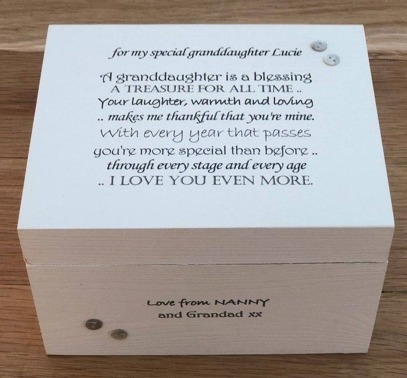 Shabby Chic Personalised Gift For A Special Granddaughter Grandaughter Jewellery Trinket Keepsake Memory Box