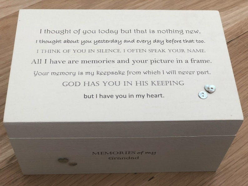 Shabby chic personalised LARGE Memory Box ~ In Memory of GRANDAD ~ Memory of a Loved One ~ Any Name ~ Grandpa ~ Grandfather ~ Grampy ETC