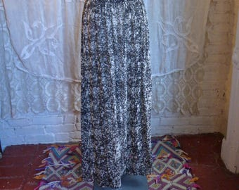 Black and White Sheer Silk Maxi Skirt