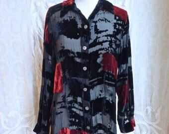 d5928de45ef SUMMER SOLSTICE Sale Black and Red Burnout Silk Velvet Button Down Shirt