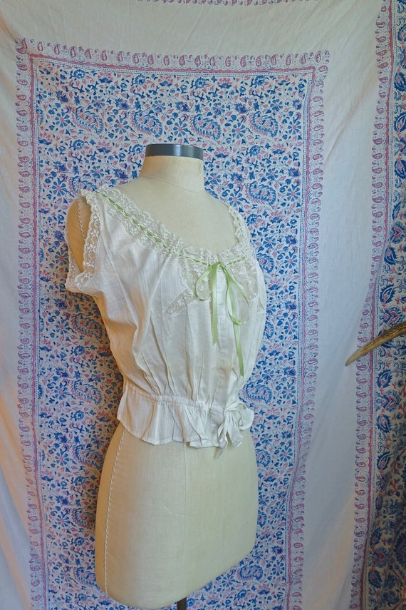 White Cotton and Lace Edwardian Button Camisole