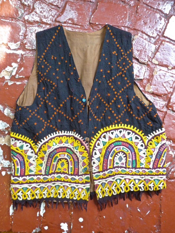 Indian Mirrored Embroidery and Wool Vest