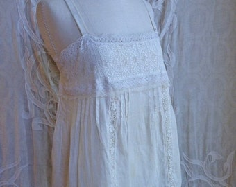 SUMMER SOLSTICE SALE Cream Cotton and Lace Camisole