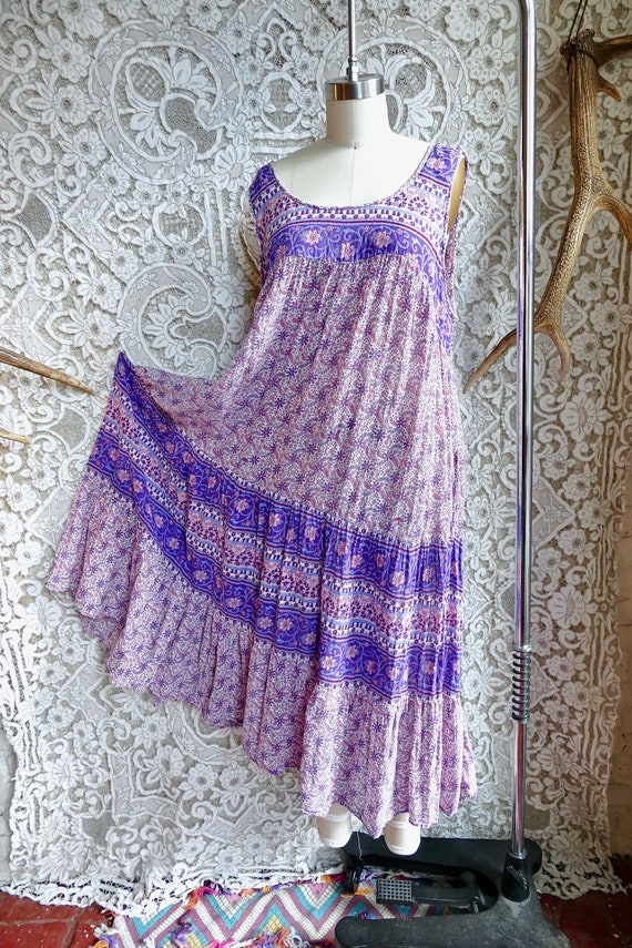 Lavender Indian Gauze Cotton Tent Dress - image 1