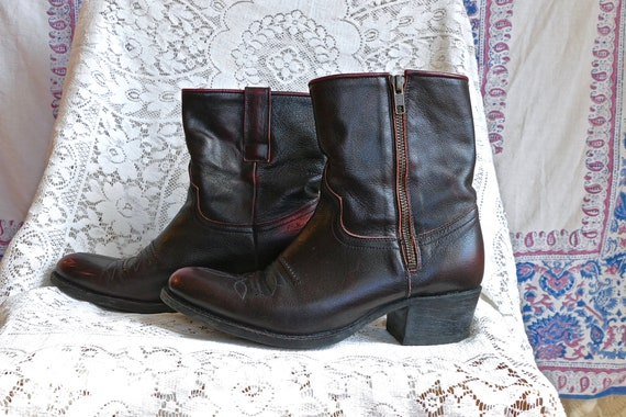 Oxblood Red Ankle Cowboy Boots Ladies size 8