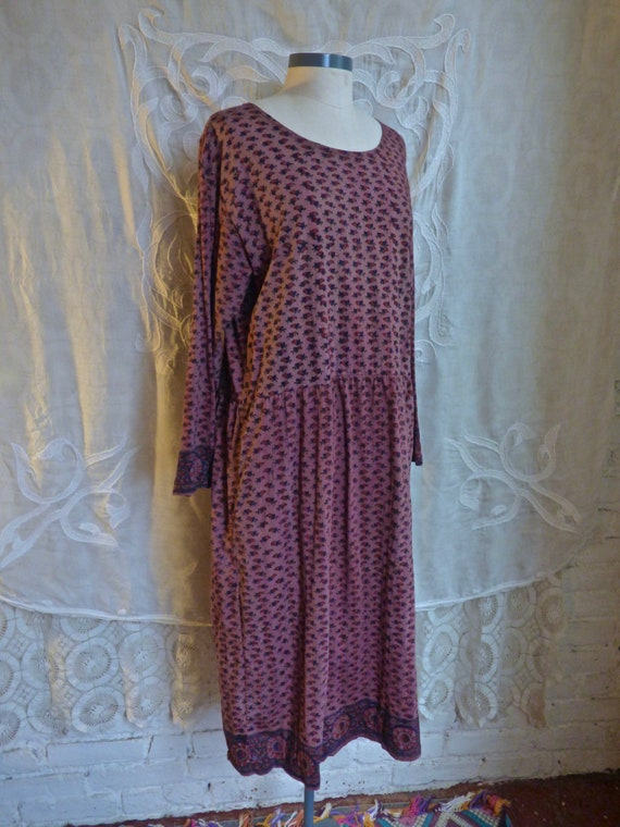 Mauve Wood Block Print Indian Cotton Jersey Knit D