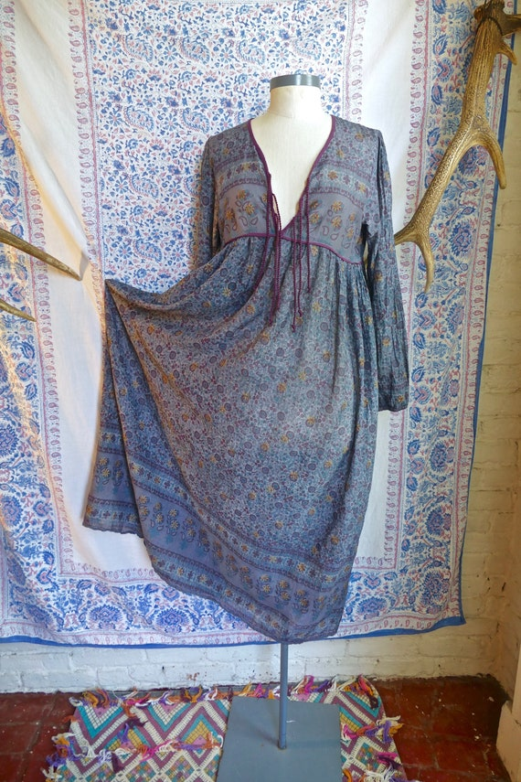 Over-dyed Indian Gauze Cotton Peasant Dress