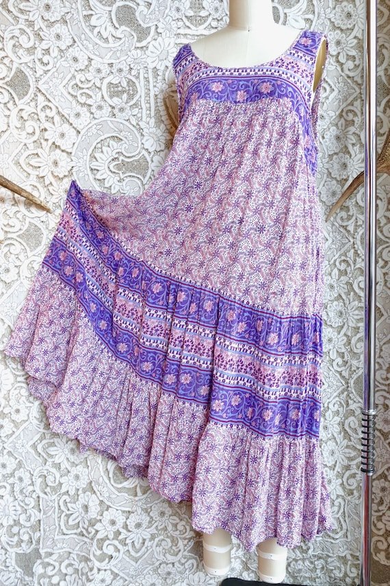 Lavender Indian Gauze Cotton Tent Dress - image 8