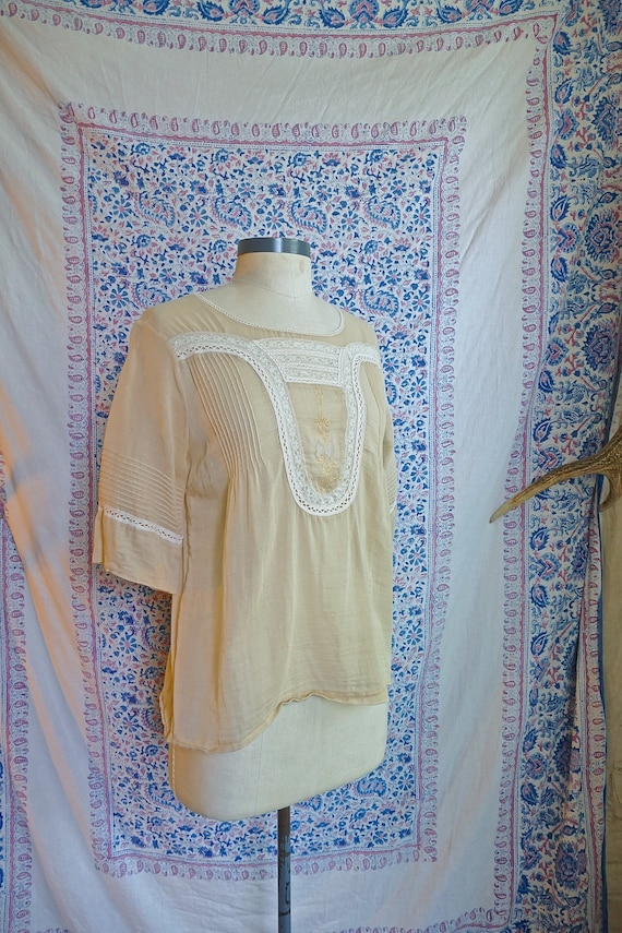 Sheer Cream Cotton and Lace Panel Blouse