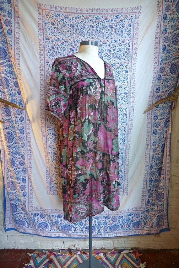 Indian Gauze Cotton and Lurex  Floral Peasant Dres