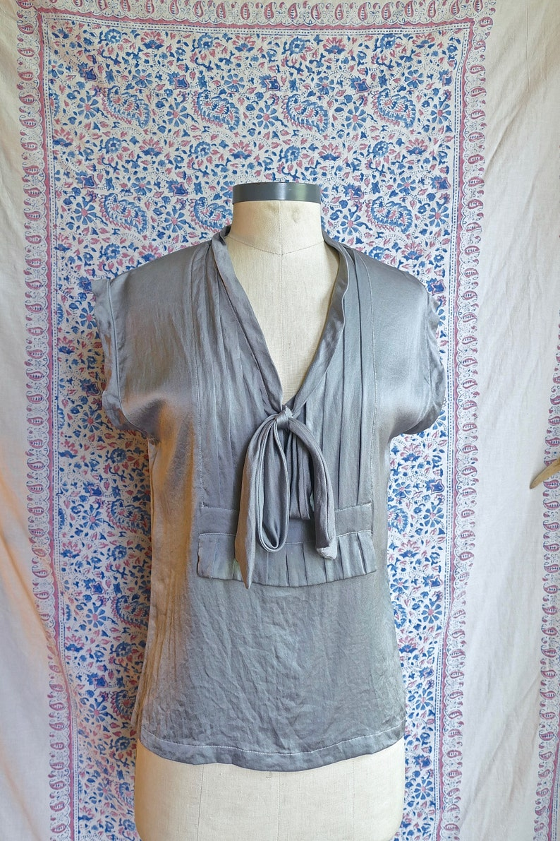 Grey Over-Dyed YSL Silk Blouse
