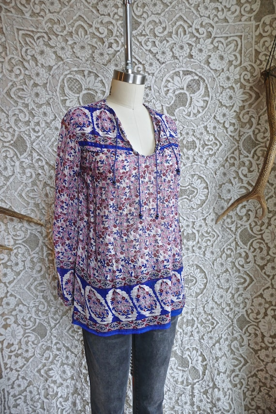 Floral Indian Metallic Gauze Cotton Blouse - image 3