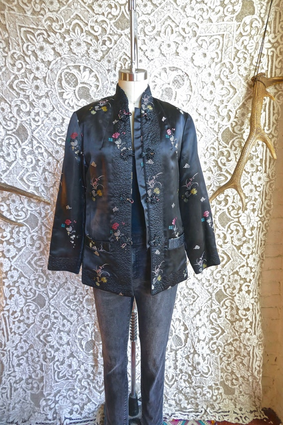 Black Chinese Satin Brocade Jacket