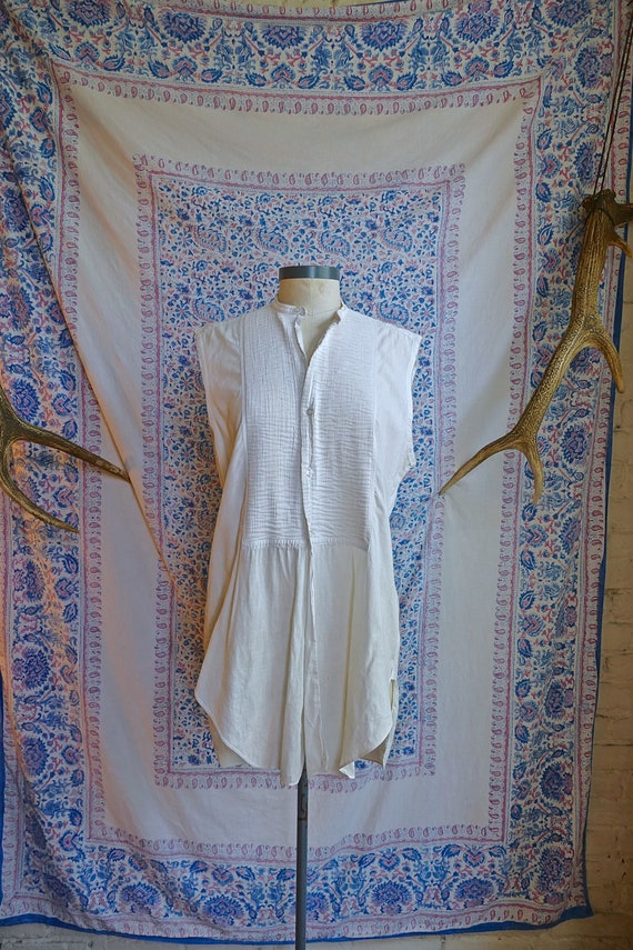 Cut Sleeve Vintage Edwardian Woven Shirt As Is - image 2