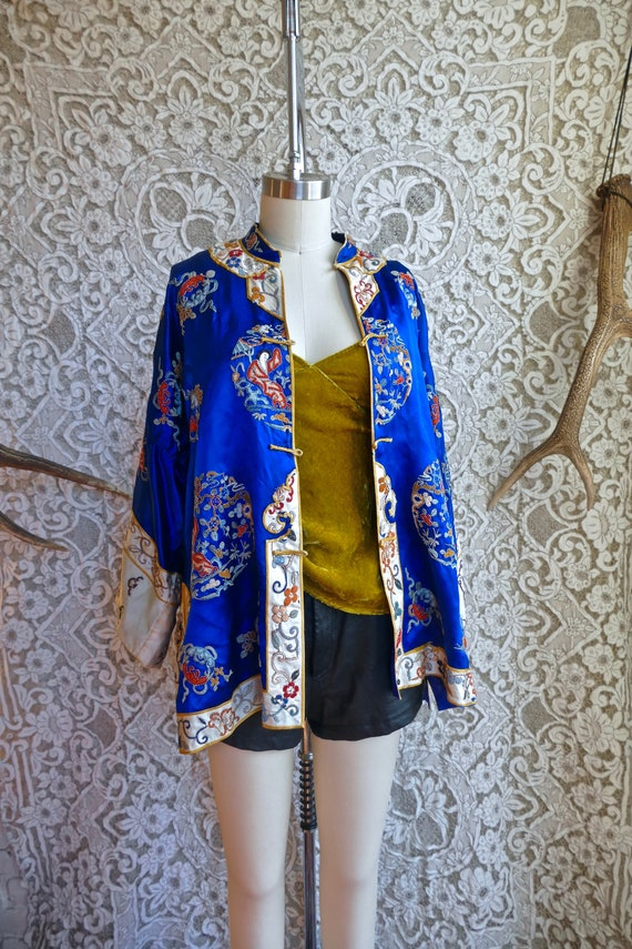 Antique Embroidered Silk Robe As Is