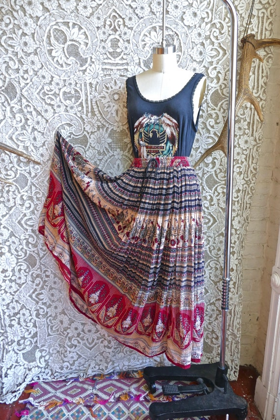 Red Indian Gauze Cotton Skirt