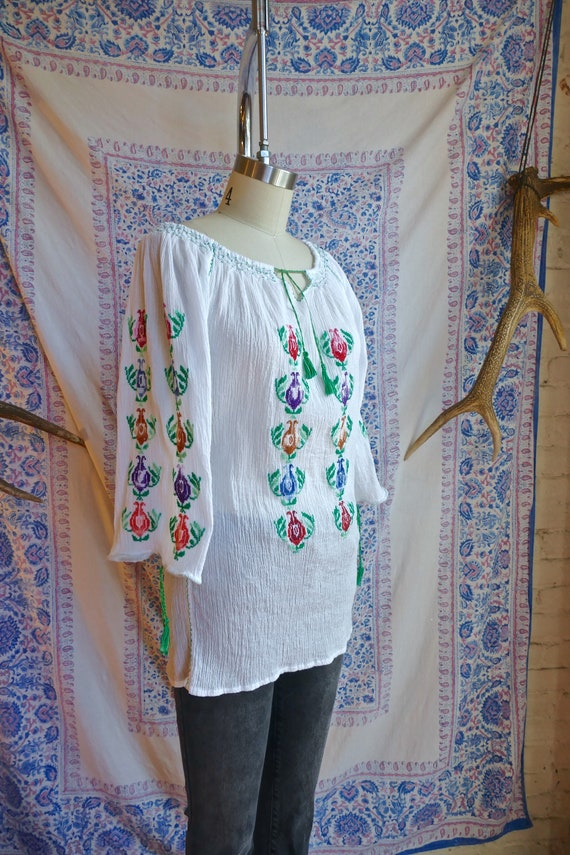 Embroidered Gauze Cotton Folk Blouse