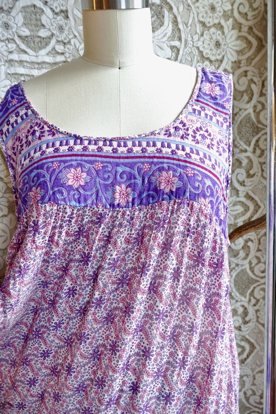 Lavender Indian Gauze Cotton Tent Dress - image 5