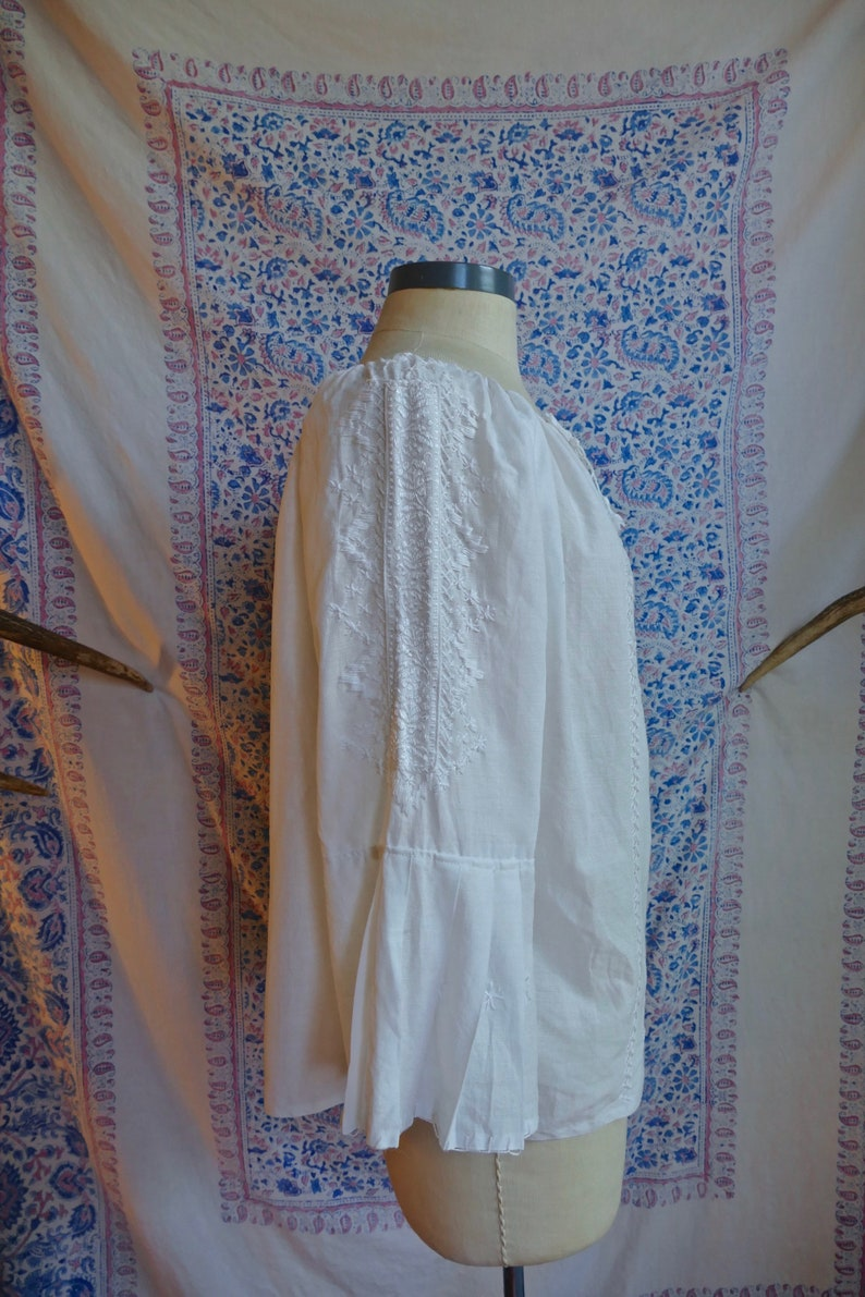 Cream Embroidered Gauze Cotton Folk Blouse As Is