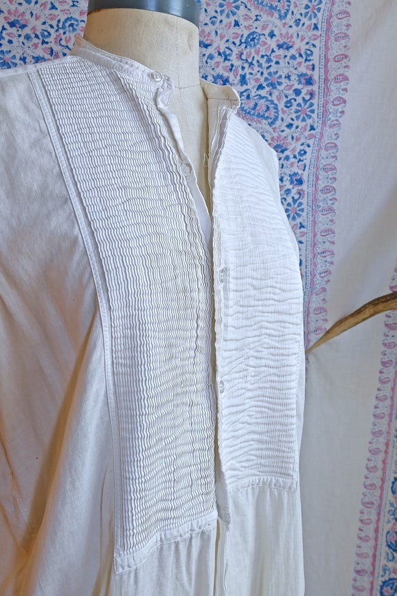 Cut Sleeve Vintage Edwardian Woven Shirt As Is - image 5