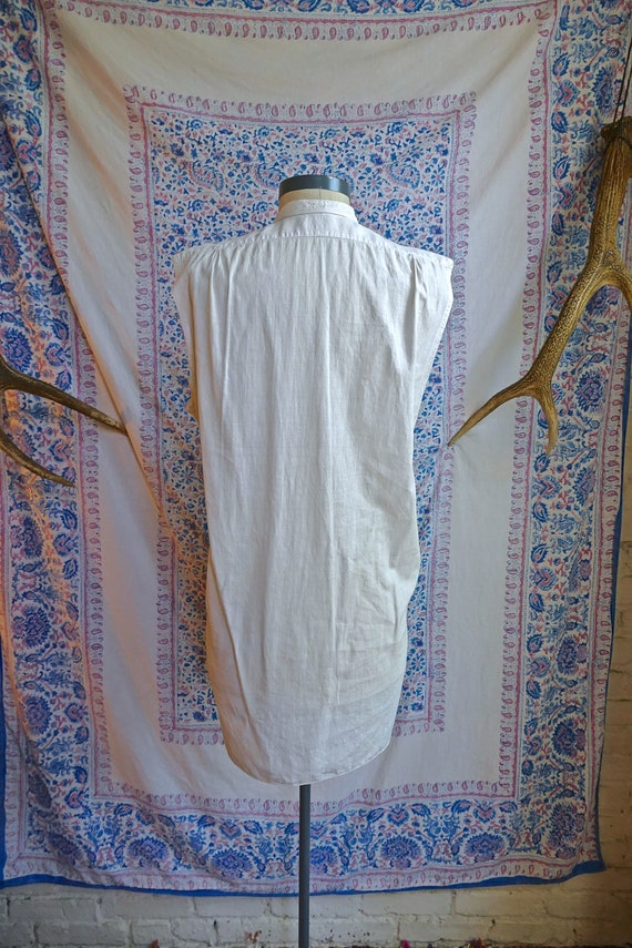 Cut Sleeve Vintage Edwardian Woven Shirt As Is - image 6