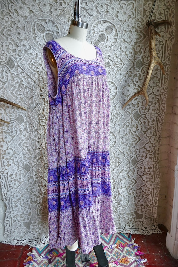 Lavender Indian Gauze Cotton Tent Dress - image 3