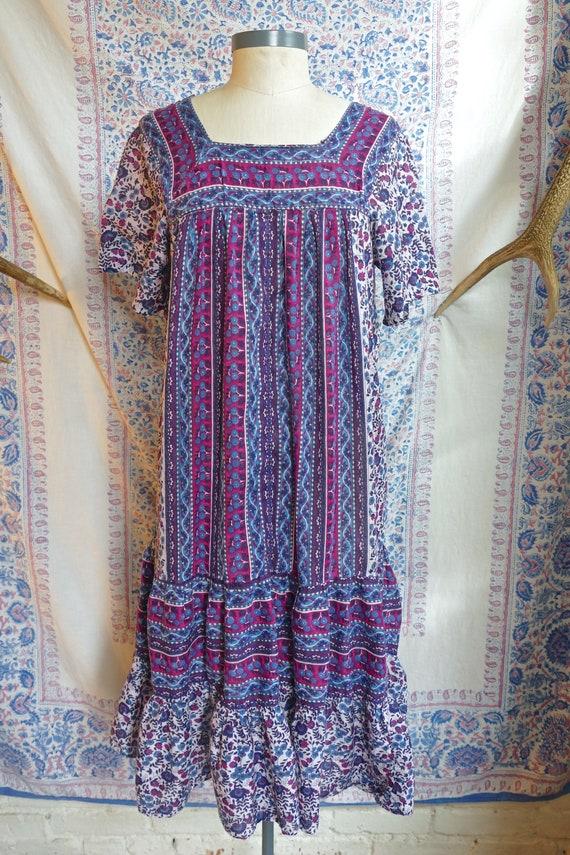 Ruffled Indian Gauze Cotton Tent Dress - image 3