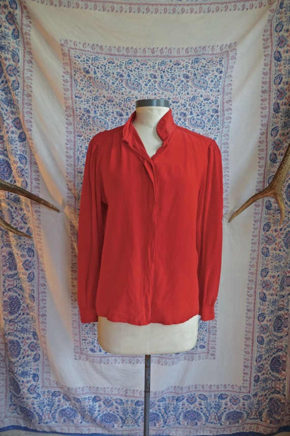 1980's Red Silk Blouse