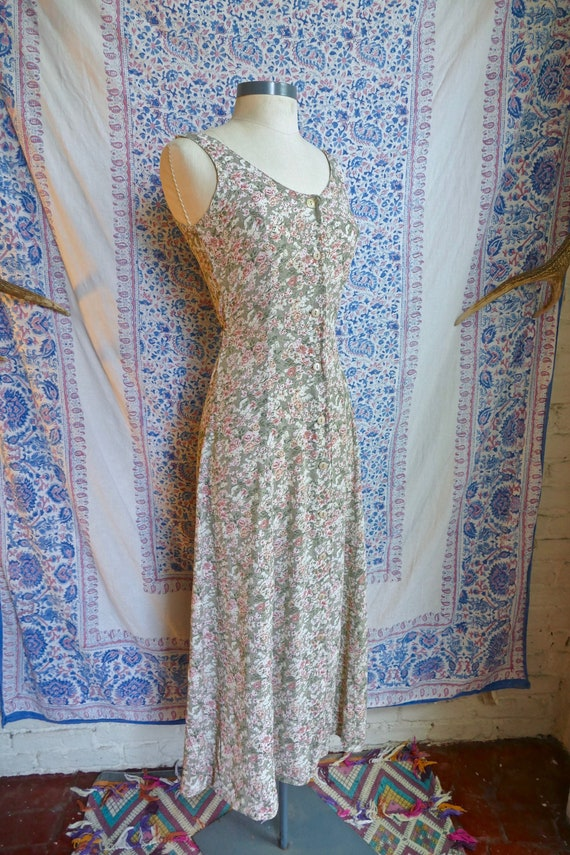 Textured Pale Green Rayon Floral Grunge Dress
