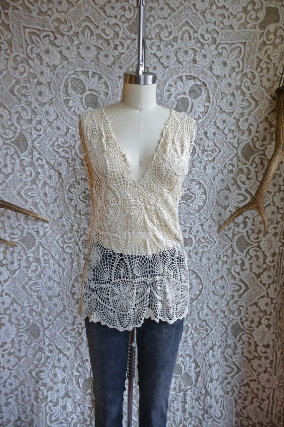 Ecru Crochet Lace Top