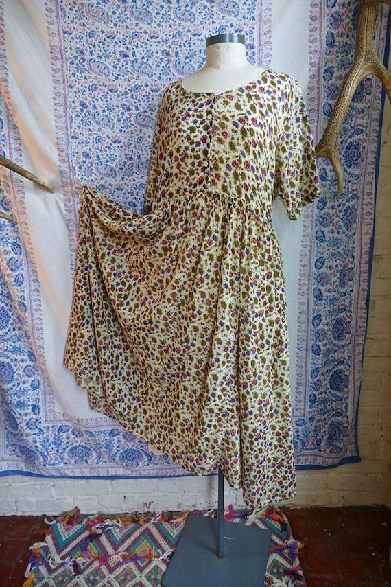 Sheer Indian Gauze Cotton Floral Grunge Dress
