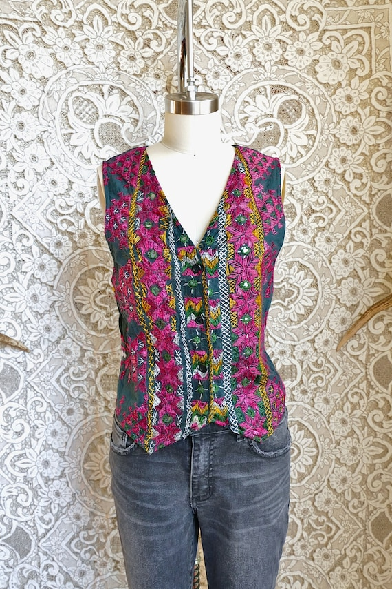 Indian Mirrored Embroidery Cotton Vest