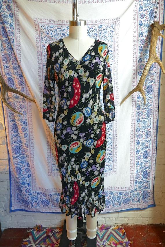 Black and Floral 90's Bias Cut Slip Dress