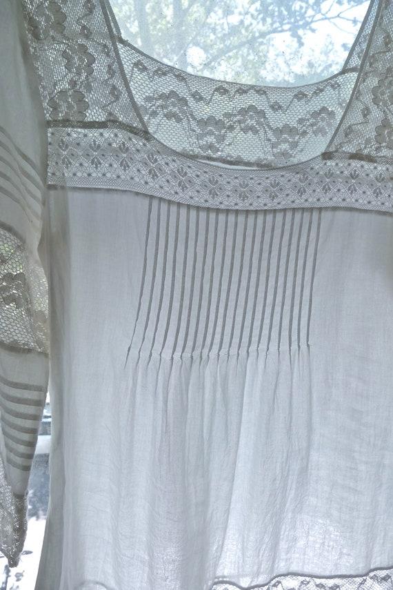 White Lace Paneled Cotton Blouse - image 8